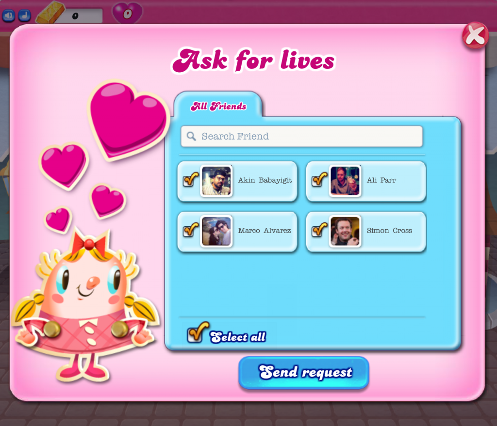 ask for lives candy crush